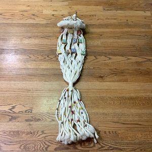 Boho Macrame Plant Hanger Vintage Baby block/beads